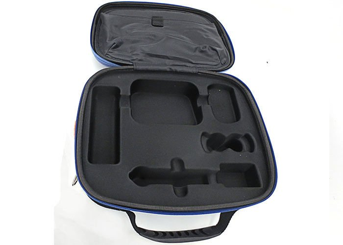 PU Surface Hard Tool Case For Air Travel / Blue Hard Carrying Case Embossed LOGO